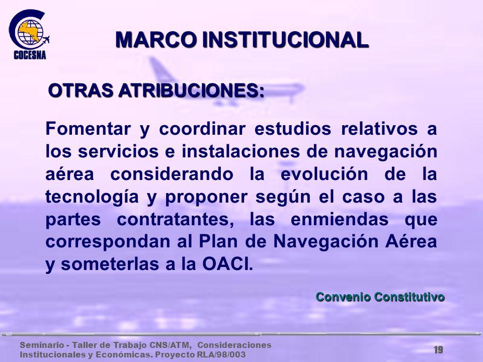 Seminario - Taller de Trabajo CNS/ATM, Consideraciones Institucionales y Económicas. Proyecto RLA/98/003 18 El ARTICULO 2 DEL CONVENIO ESTABLECE LOS D