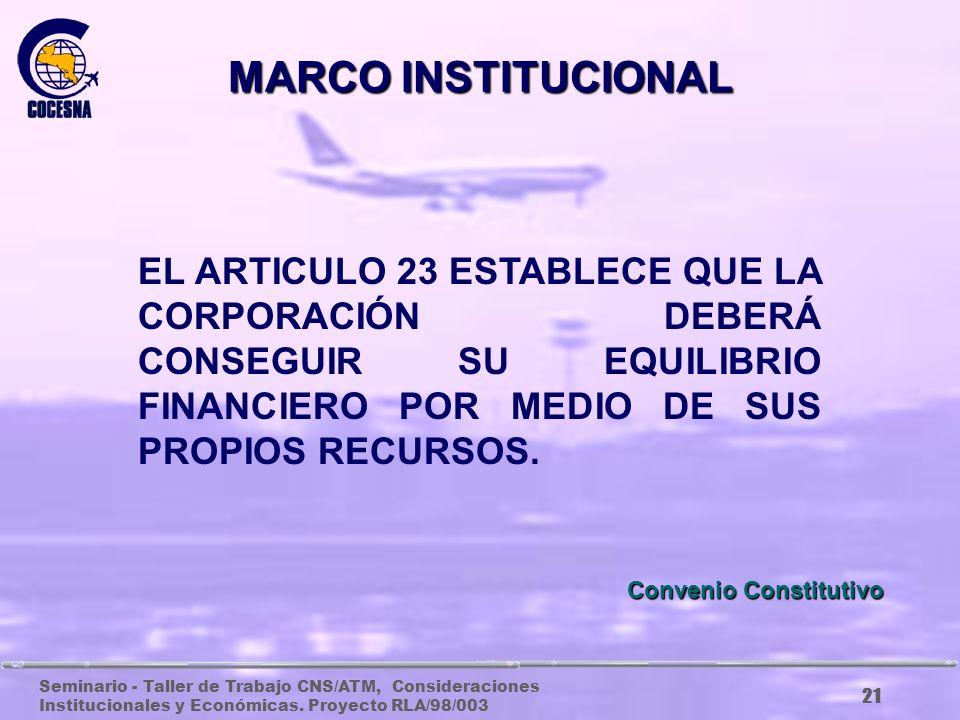 Seminario - Taller de Trabajo CNS/ATM, Consideraciones Institucionales y Económicas. Proyecto RLA/98/003 20 Estudiar y proponer a las partes contratan