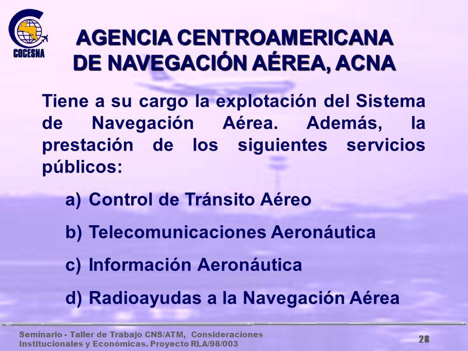 Seminario - Taller de Trabajo CNS/ATM, Consideraciones Institucionales y Económicas. Proyecto RLA/98/003 27 PRESIDENCIA EJECUTIVA El Presidente Ejecut
