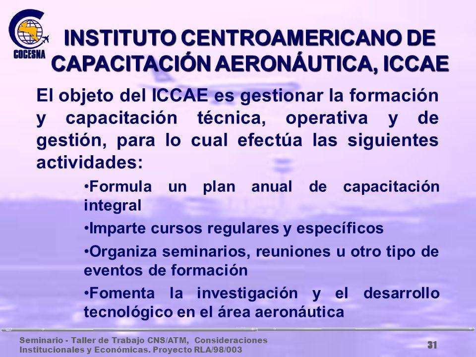 Seminario - Taller de Trabajo CNS/ATM, Consideraciones Institucionales y Económicas. Proyecto RLA/98/003 30 AGENCIA CENTROAMERICANA DE SEGURIDAD AERON