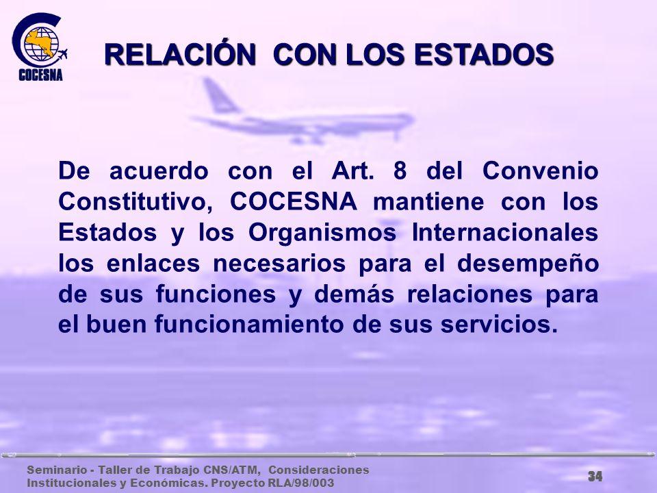 Seminario - Taller de Trabajo CNS/ATM, Consideraciones Institucionales y Económicas. Proyecto RLA/98/003 33 RELACIÓN CON LOS ESTADOS Y ORGANISMOS INTE