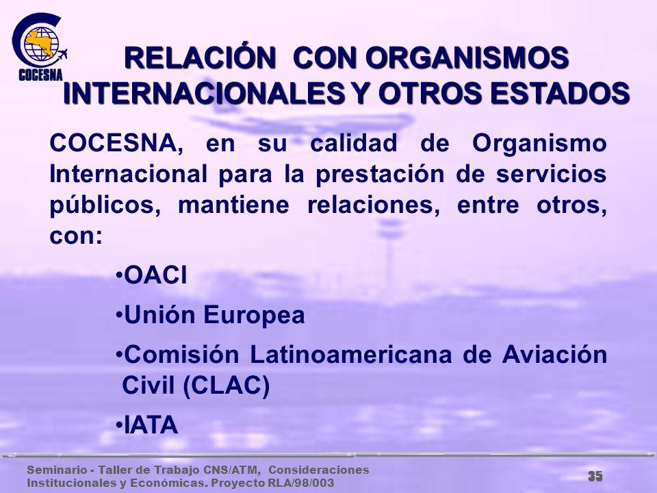 Seminario - Taller de Trabajo CNS/ATM, Consideraciones Institucionales y Económicas. Proyecto RLA/98/003 34 RELACIÓN CON LOS ESTADOS De acuerdo con el