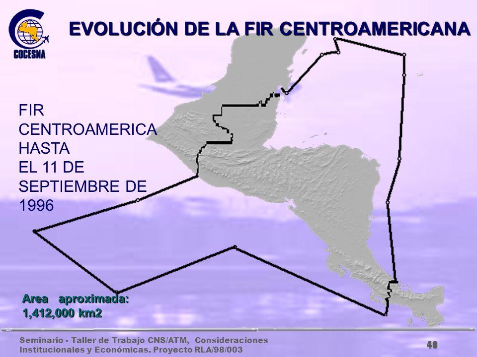 Seminario - Taller de Trabajo CNS/ATM, Consideraciones Institucionales y Económicas. Proyecto RLA/98/003 39 Area aproximada: 1,175,400 km2 EVOLUCIÓN D