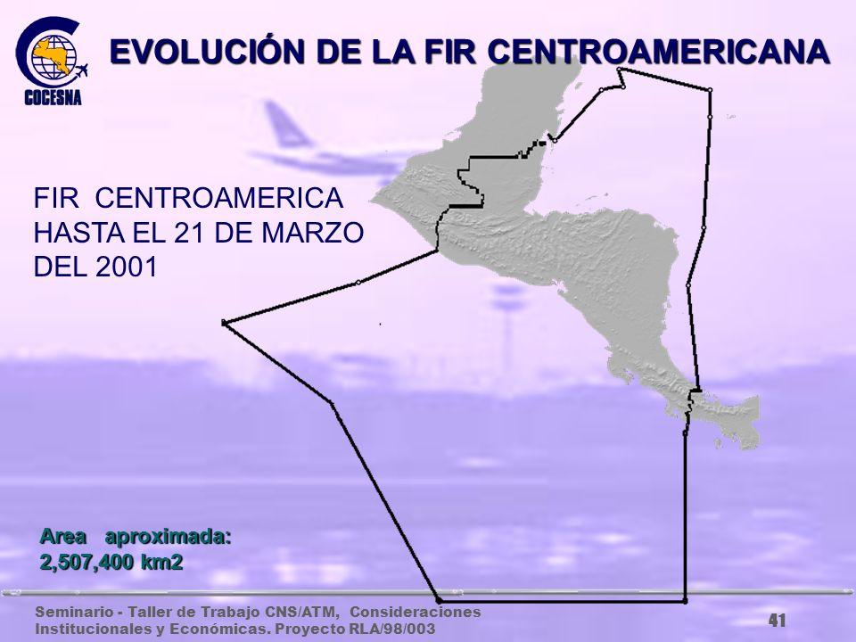 Seminario - Taller de Trabajo CNS/ATM, Consideraciones Institucionales y Económicas. Proyecto RLA/98/003 40 Area aproximada: 1,412,000 km2 EVOLUCIÓN D