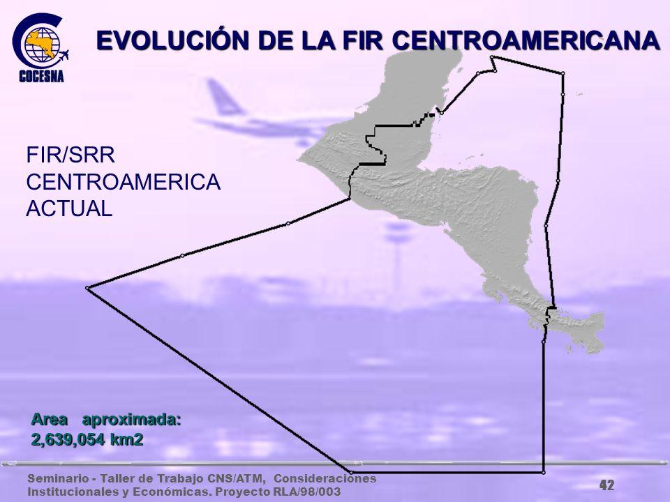 Seminario - Taller de Trabajo CNS/ATM, Consideraciones Institucionales y Económicas. Proyecto RLA/98/003 41 Area aproximada: 2,507,400 km2 FIR CENTROA