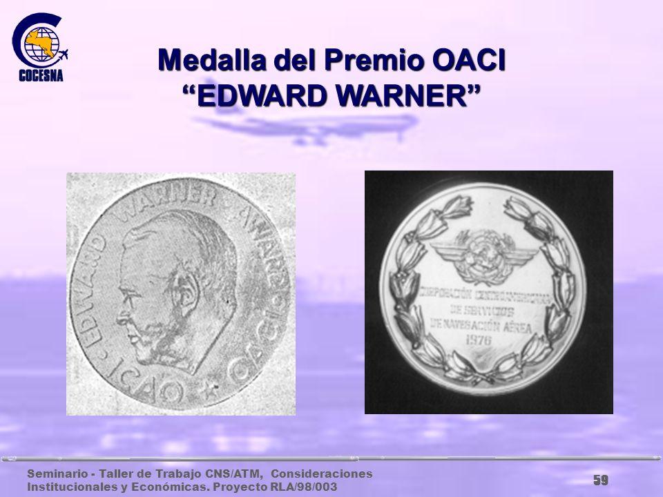 Seminario - Taller de Trabajo CNS/ATM, Consideraciones Institucionales y Económicas. Proyecto RLA/98/003 58 Premio OACI EDWARD WARNER Undécimo Premio