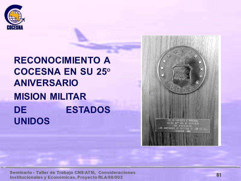 Seminario - Taller de Trabajo CNS/ATM, Consideraciones Institucionales y Económicas. Proyecto RLA/98/003 60 RECONOCIMIENTO DE LA ADMINISTRACION FEDERA