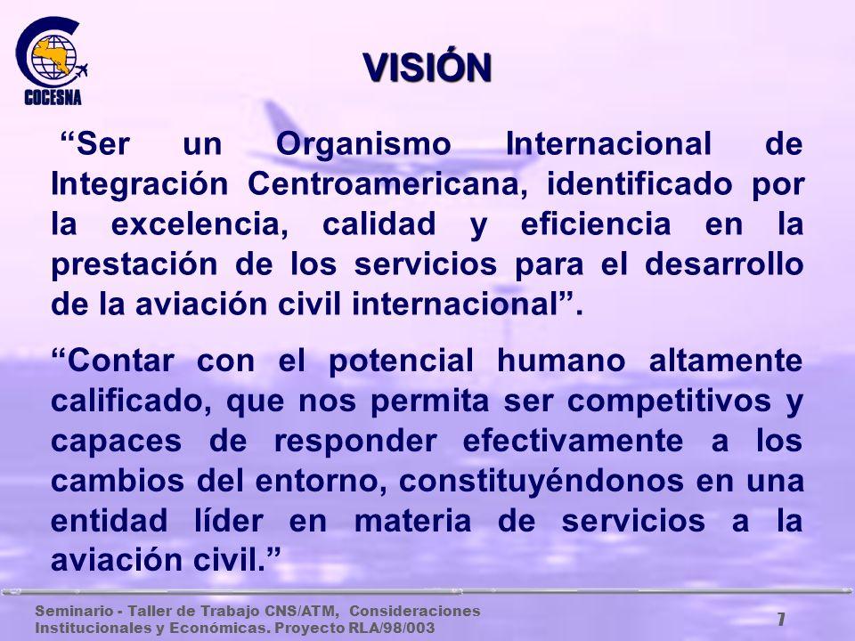 Seminario - Taller de Trabajo CNS/ATM, Consideraciones Institucionales y Económicas. Proyecto RLA/98/003 6 GUATEMALA BELICE EL SALVADOR HONDURAS NICAR