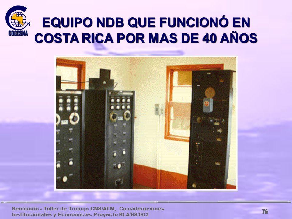 Seminario - Taller de Trabajo CNS/ATM, Consideraciones Institucionales y Económicas. Proyecto RLA/98/003 75 EQUIPOS DE LA RED ANALOGICA DE RADIO A BAS