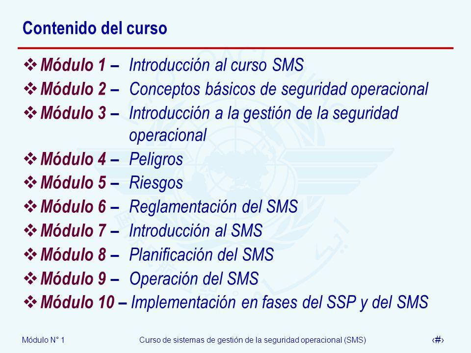 Módulo N° 1Curso de sistemas de gestión de la seguridad operacional (SMS) 11 Contenido del curso Módulo 1 – Introducción al curso SMS Módulo 2– Concep