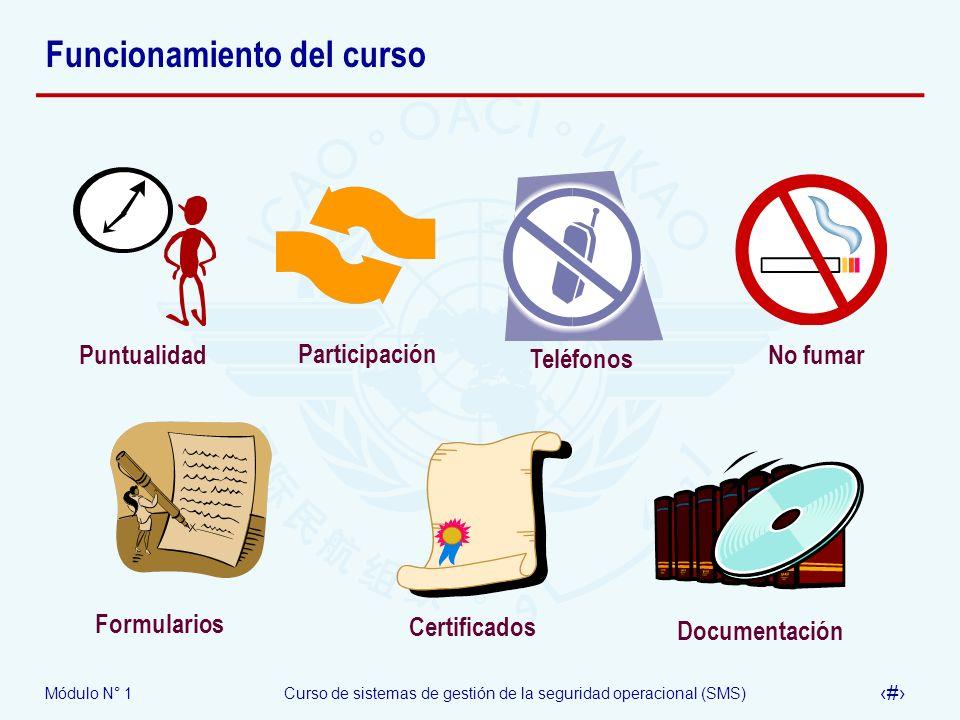 Módulo N° 1Curso de sistemas de gestión de la seguridad operacional (SMS) 14 Funcionamiento del curso No fumar Puntualidad Participación Certificados