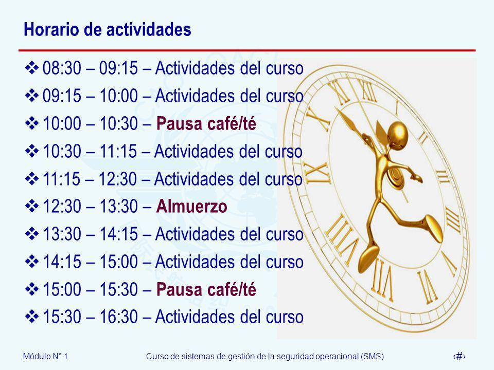 Módulo N° 1Curso de sistemas de gestión de la seguridad operacional (SMS) 16 Horario de actividades 08:30 – 09:15 – Actividades del curso 09:15 – 10:0