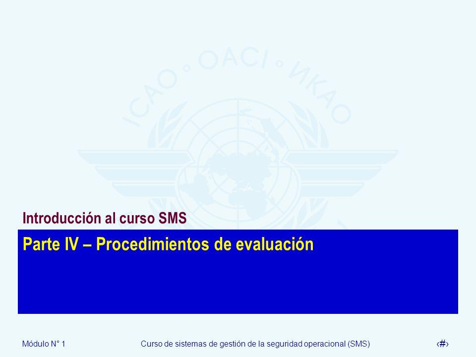 Módulo N° 1Curso de sistemas de gestión de la seguridad operacional (SMS) 17 Parte IV – Procedimientos de evaluación Introducción al curso SMS