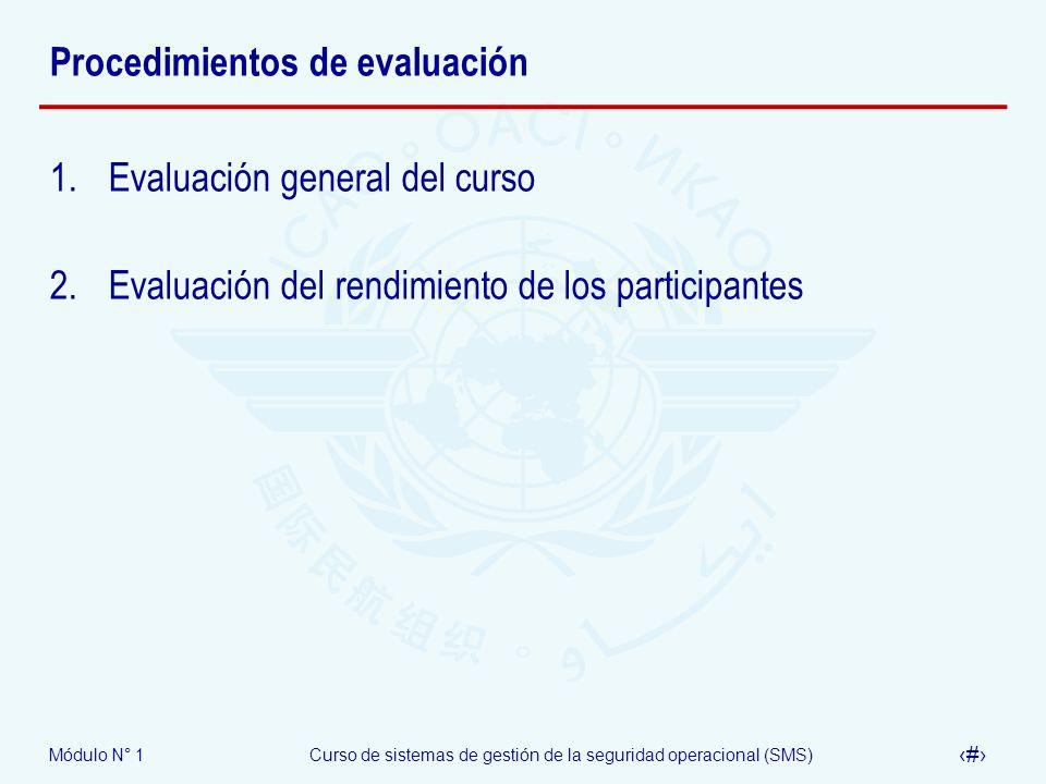 Módulo N° 1Curso de sistemas de gestión de la seguridad operacional (SMS) 18 Procedimientos de evaluación 1.Evaluación general del curso 2.Evaluación