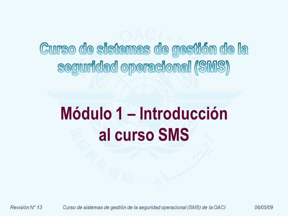 Módulo N° 1Curso de sistemas de gestión de la seguridad operacional (SMS) 13 Parte III – Información administrativa Introducción al curso SMS