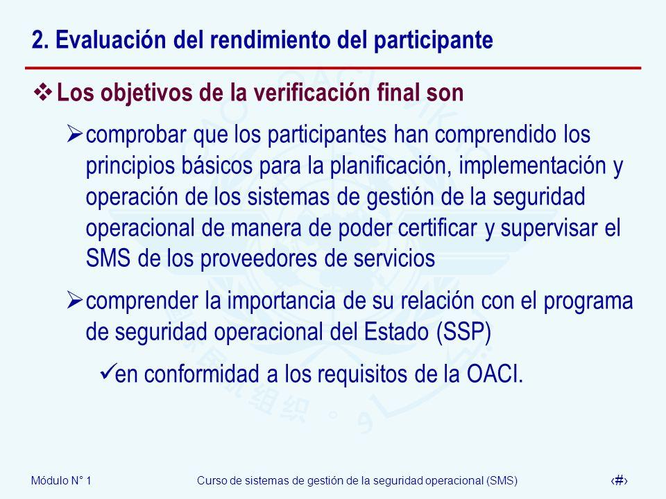 Módulo N° 1Curso de sistemas de gestión de la seguridad operacional (SMS) 21 2. Evaluación del rendimiento del participante Los objetivos de la verifi