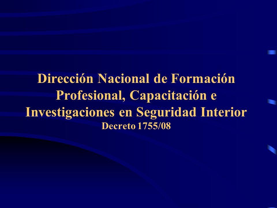 Presentación La formación policial en el contexto del Sistema de Seguridad Interior de la República Argentina Marco normativo de la formación policial y fundamentos conceptuales Tendencias que asume el Sistema de Formación Profesional de Cuerpos Policiales y Fuerzas de Seguridad en la República Argentina