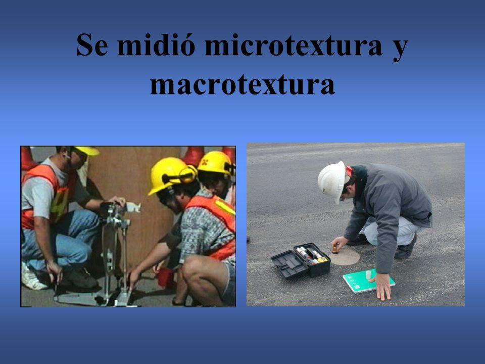 Se midió microtextura y macrotextura