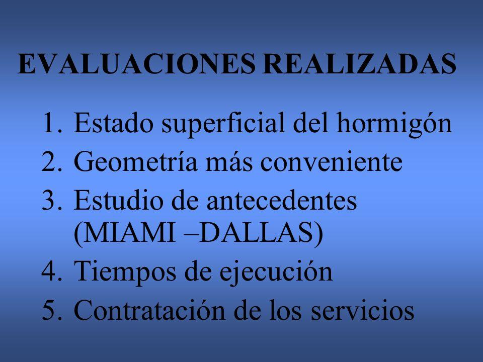 EVALUACIONES REALIZADAS 1.Estado superficial del hormigón 2.Geometría más conveniente 3.Estudio de antecedentes (MIAMI –DALLAS) 4.Tiempos de ejecución