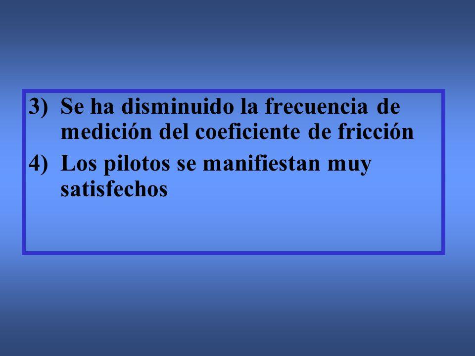 3)Se ha disminuido la frecuencia de medición del coeficiente de fricción 4)Los pilotos se manifiestan muy satisfechos