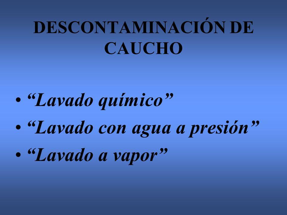 DESCONTAMINACIÓN DE CAUCHO Lavado químico Lavado con agua a presión Lavado a vapor