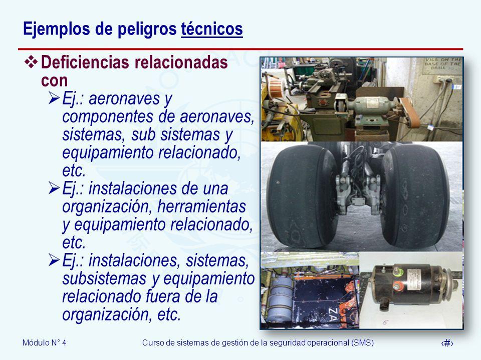 Módulo N° 4Curso de sistemas de gestión de la seguridad operacional (SMS) 10 Ejemplos de peligros técnicos Deficiencias relacionadas con Ej.: aeronave