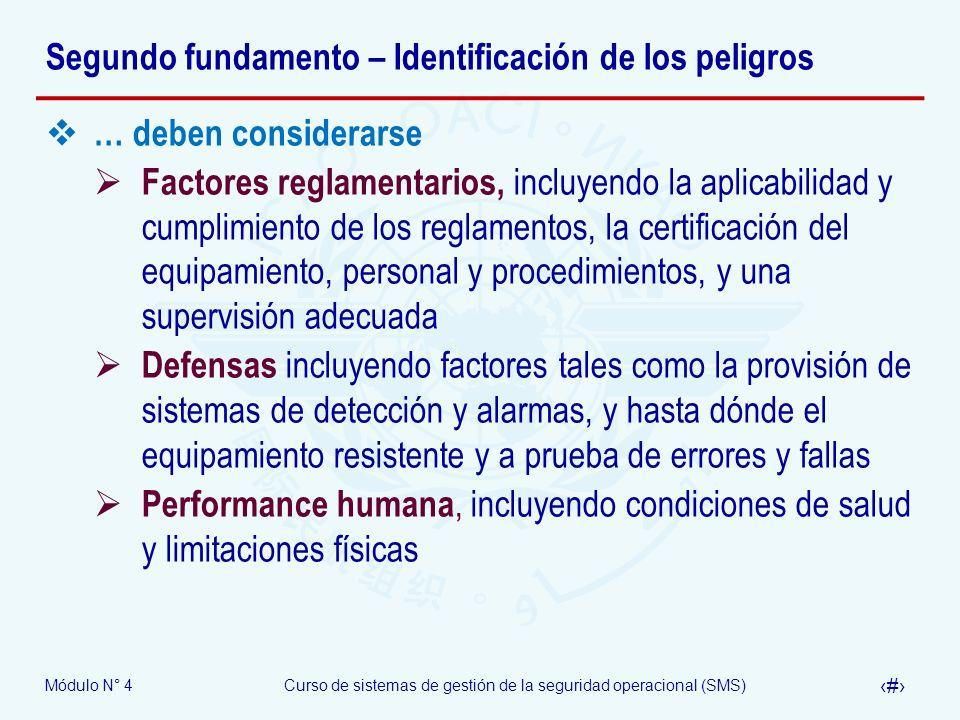 Módulo N° 4Curso de sistemas de gestión de la seguridad operacional (SMS) 14 Segundo fundamento – Identificación de los peligros … deben considerarse
