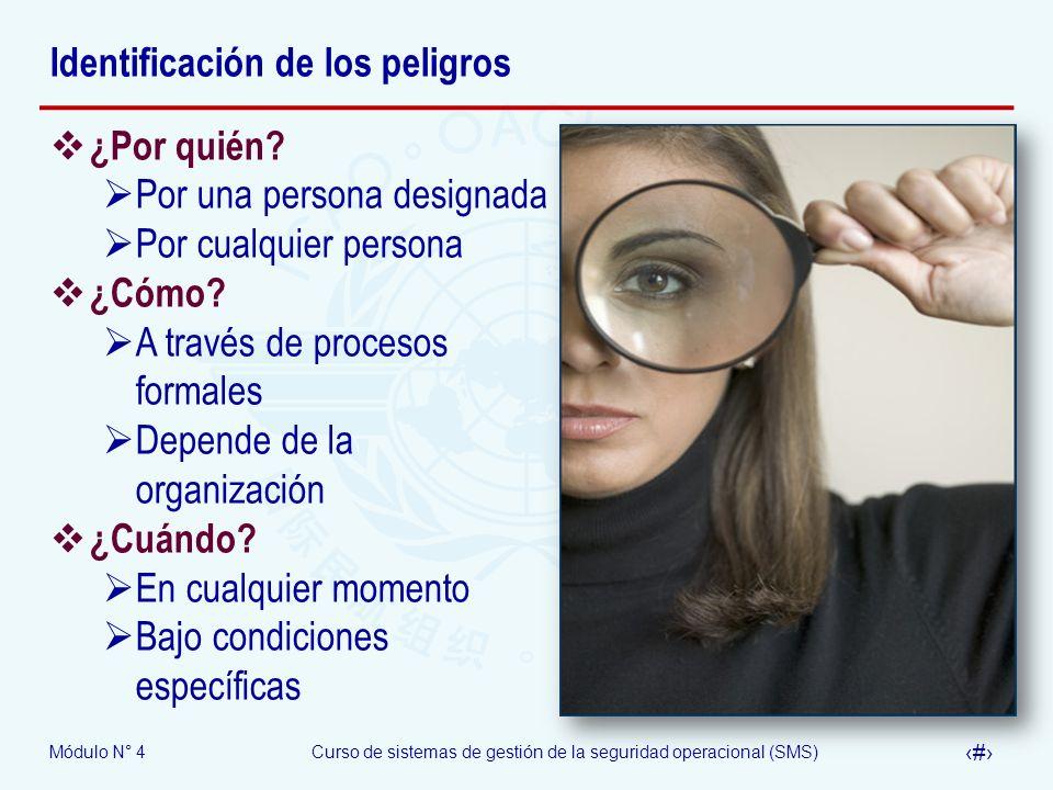 Módulo N° 4Curso de sistemas de gestión de la seguridad operacional (SMS) 16 Identificación de los peligros ¿Por quién? Por una persona designada Por
