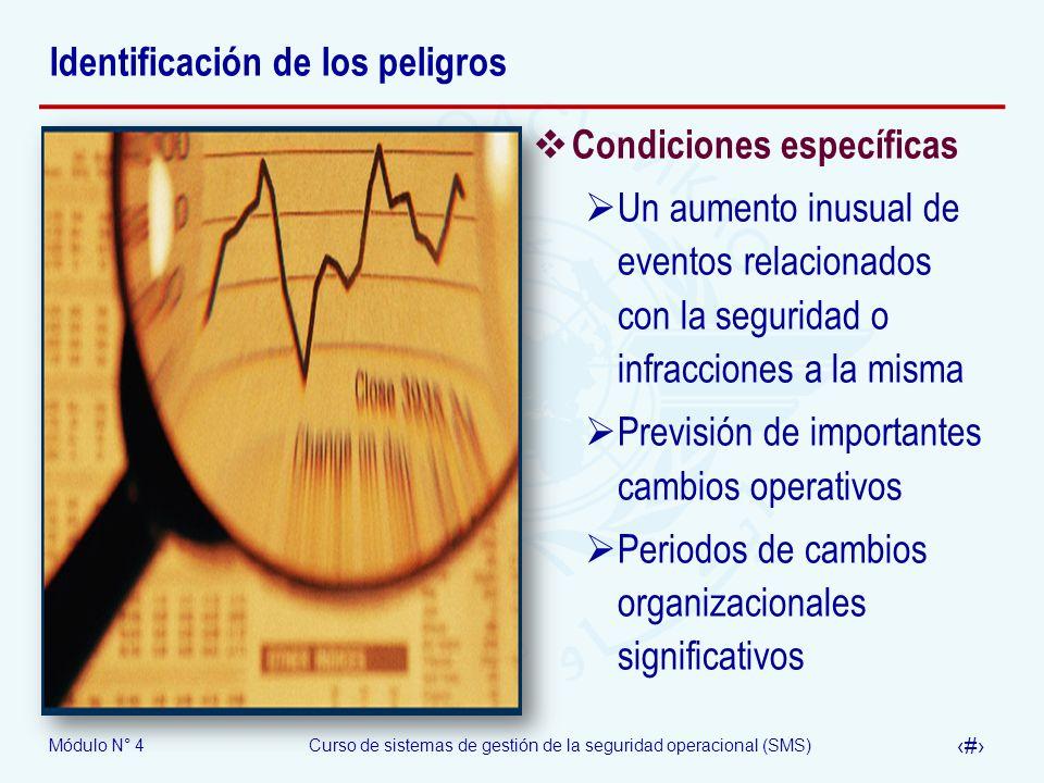 Módulo N° 4Curso de sistemas de gestión de la seguridad operacional (SMS) 17 Identificación de los peligros Condiciones específicas Un aumento inusual