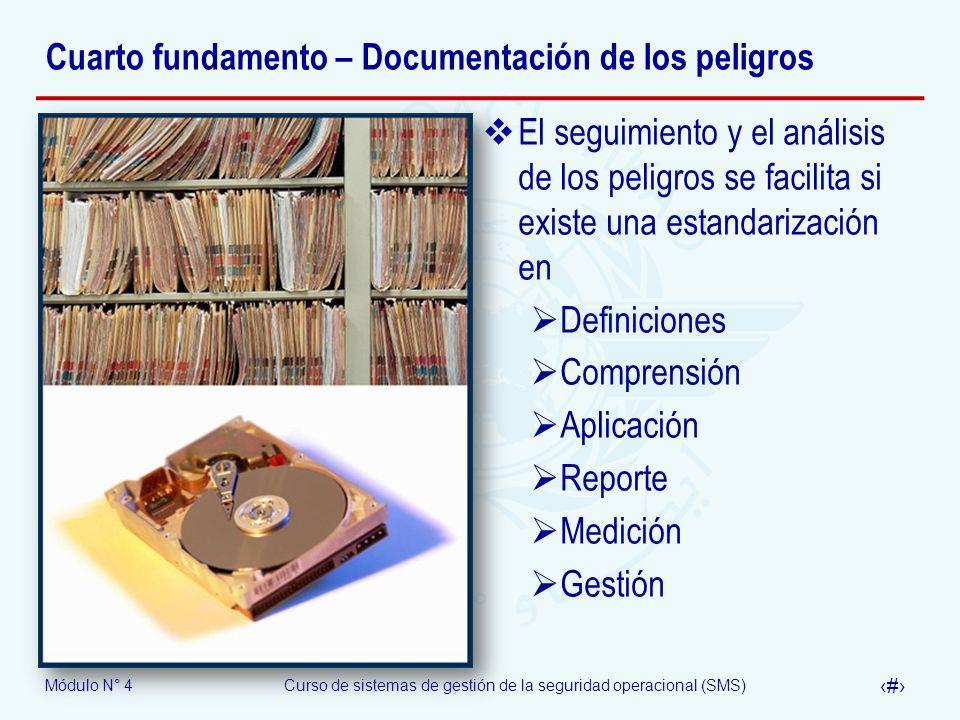 Módulo N° 4Curso de sistemas de gestión de la seguridad operacional (SMS) 21 Cuarto fundamento – Documentación de los peligros El seguimiento y el aná