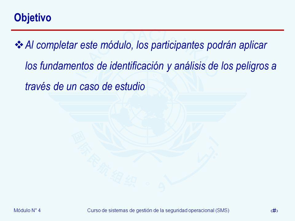Módulo N° 4Curso de sistemas de gestión de la seguridad operacional (SMS) 3 Objetivo Al completar este módulo, los participantes podrán aplicar los fu