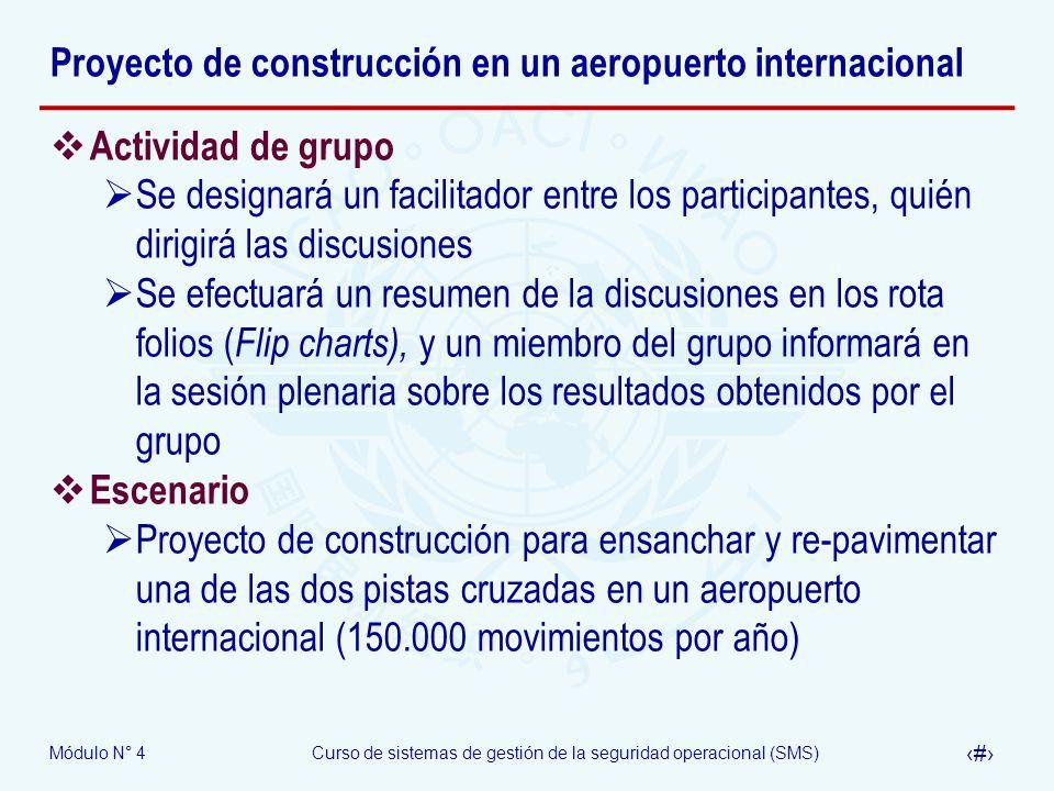 Módulo N° 4Curso de sistemas de gestión de la seguridad operacional (SMS) 30 Proyecto de construcción en un aeropuerto internacional Actividad de grup