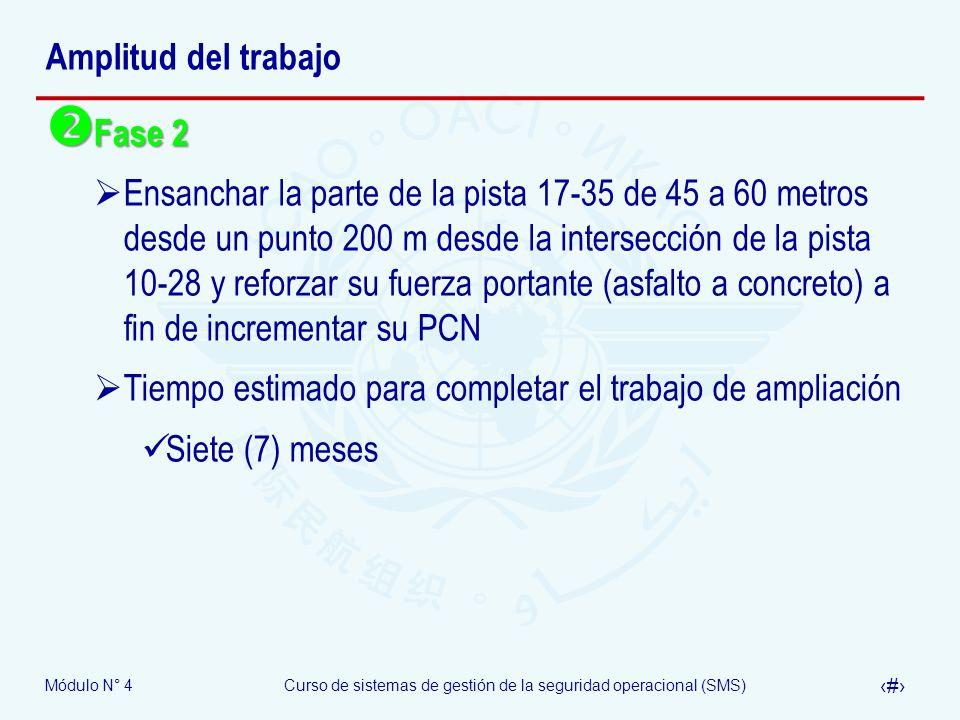 Módulo N° 4Curso de sistemas de gestión de la seguridad operacional (SMS) 35 Amplitud del trabajo Fase 2 Fase 2 Ensanchar la parte de la pista 17-35 d