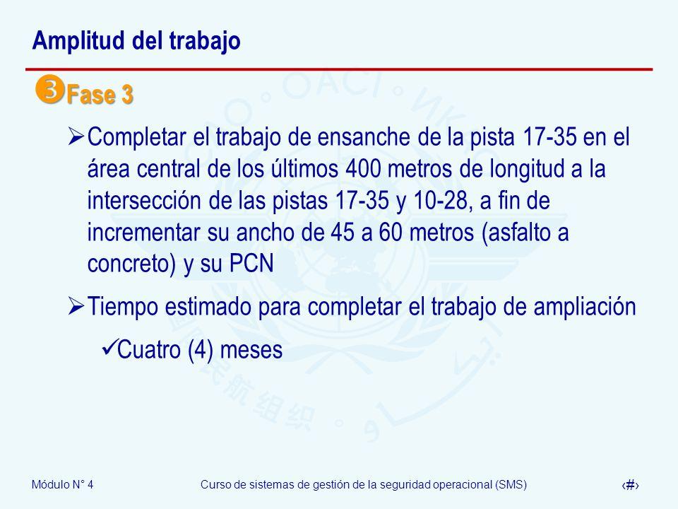 Módulo N° 4Curso de sistemas de gestión de la seguridad operacional (SMS) 37 Amplitud del trabajo Fase 3 Fase 3 Completar el trabajo de ensanche de la
