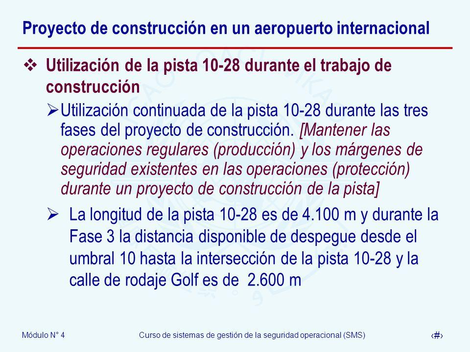 Módulo N° 4Curso de sistemas de gestión de la seguridad operacional (SMS) 38 Proyecto de construcción en un aeropuerto internacional Utilización de la