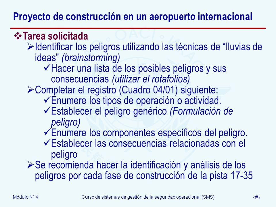 Módulo N° 4Curso de sistemas de gestión de la seguridad operacional (SMS) 39 Proyecto de construcción en un aeropuerto internacional Tarea solicitada