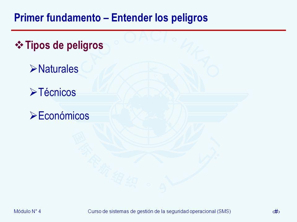 Módulo N° 4Curso de sistemas de gestión de la seguridad operacional (SMS) 7 Primer fundamento – Entender los peligros Tipos de peligros Naturales Técn