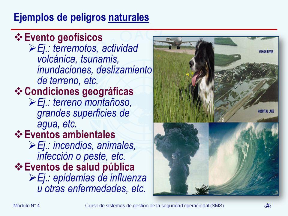 Módulo N° 4Curso de sistemas de gestión de la seguridad operacional (SMS) 9 Ejemplos de peligros naturales Evento geofísicos Ej.: terremotos, activida