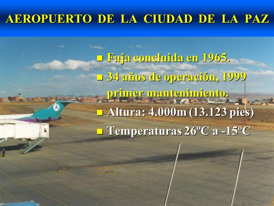 AEROPUERTO DE LA CIUDAD DE LA PAZ Espesor de losas entre 23 a 28cm.