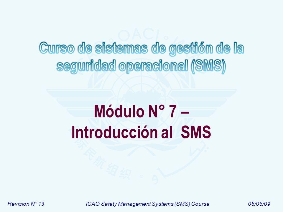 Módulo N° 7Curso de sistemas de gestión de la seguridad operacional (SMS) 12 Descripción del sistema 1.Las interacciones del sistema con otros sistemas en el sistema de transporte aéreo 2.Las funciones del sistema 3.Las consideraciones de desempeño humano requeridas para la operación del sistema 4.Los componentes hardware del sistema 5.Los componentes software del sistema 6.Los procedimientos que definen las guías para la operación y el uso del sistema 7.El medio ambiente operacional 8.Los productos y servicios contratados o adquiridos