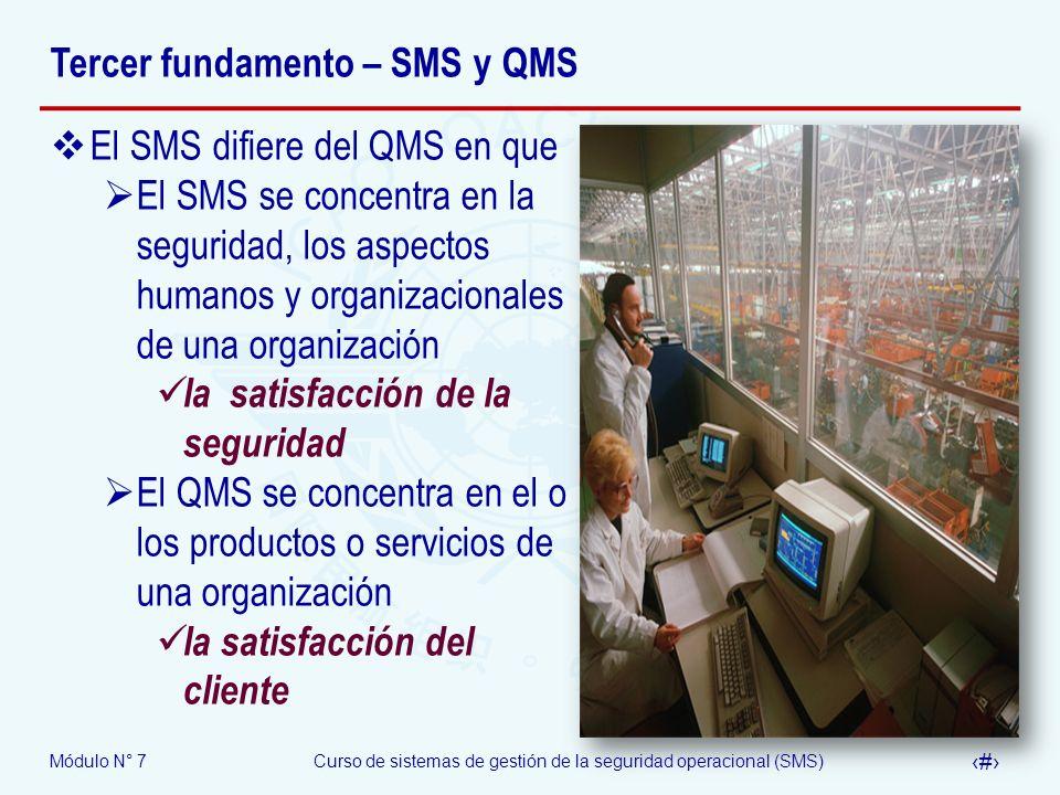 Módulo N° 7Curso de sistemas de gestión de la seguridad operacional (SMS) 15 Tercer fundamento – SMS y QMS El SMS difiere del QMS en que El SMS se con