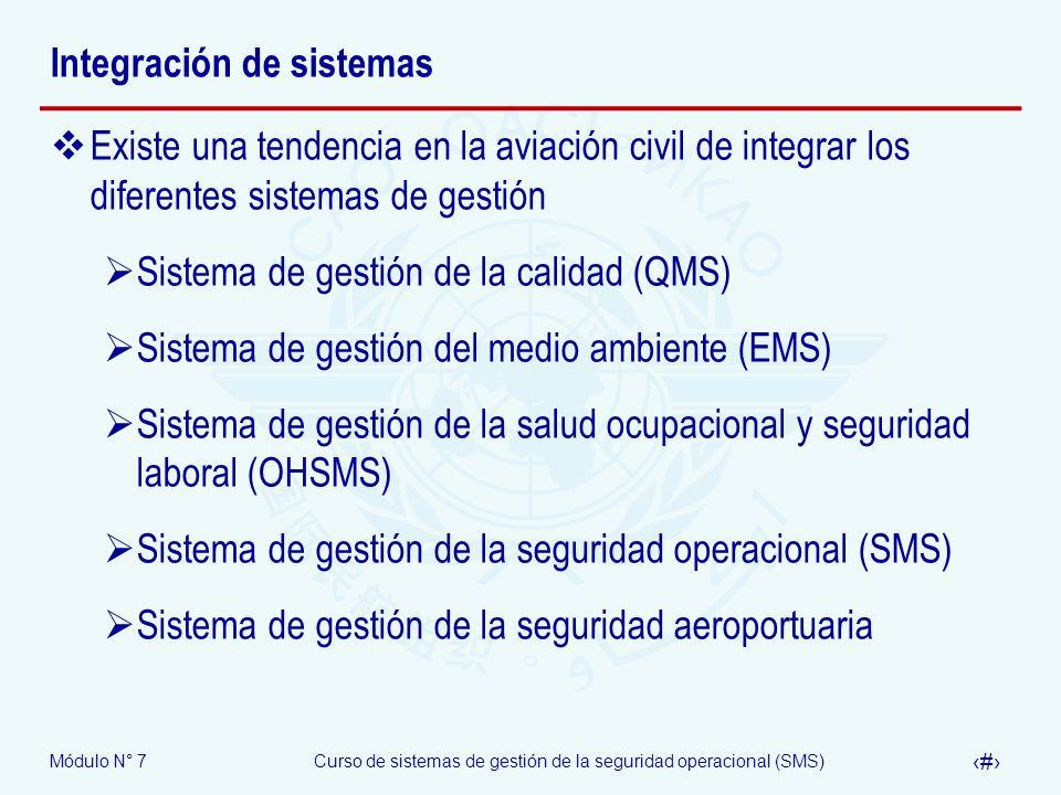 Módulo N° 7Curso de sistemas de gestión de la seguridad operacional (SMS) 18 Integración de sistemas Existe una tendencia en la aviación civil de inte