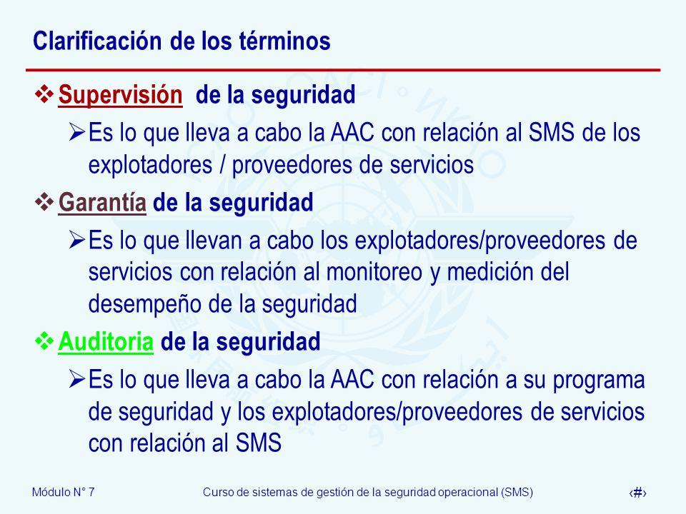 Módulo N° 7Curso de sistemas de gestión de la seguridad operacional (SMS) 21 Clarificación de los términos Supervisión de la seguridad Es lo que lleva