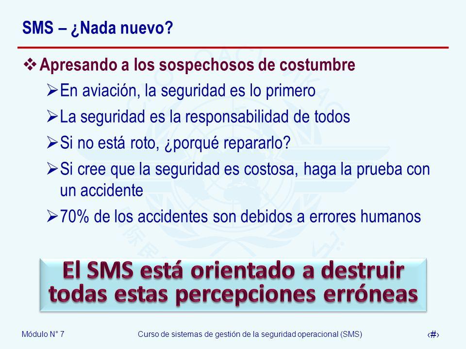 Módulo N° 7Curso de sistemas de gestión de la seguridad operacional (SMS) 22 SMS – ¿Nada nuevo? Apresando a los sospechosos de costumbre En aviación,