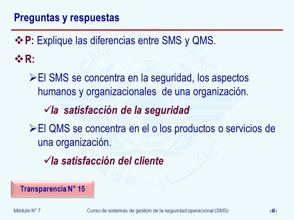 Módulo N° 7Curso de sistemas de gestión de la seguridad operacional (SMS) 26 Preguntas y respuestas P: Explique las diferencias entre SMS y QMS. R: El
