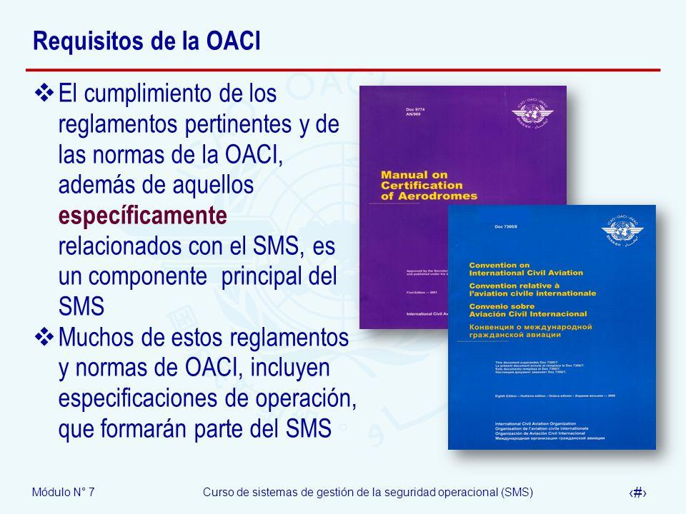 Módulo N° 7Curso de sistemas de gestión de la seguridad operacional (SMS) 5 Requisitos de la OACI El cumplimiento de los reglamentos pertinentes y de