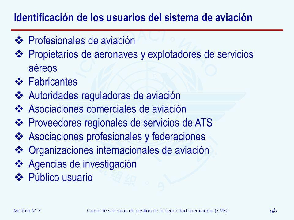 Módulo N° 7Curso de sistemas de gestión de la seguridad operacional (SMS) 8 Identificación de los usuarios del sistema de aviación ¿Porqué es importante identificar los usuarios del sistema aeronáutico.