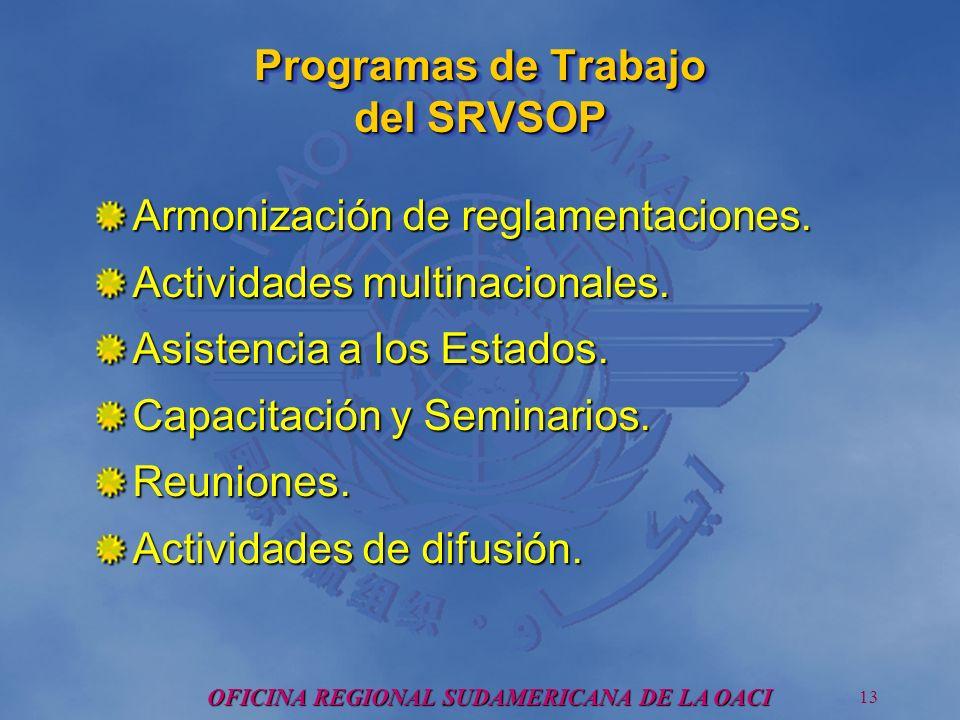 OFICINA REGIONAL SUDAMERICANA DE LA OACI 13 Programas de Trabajo del SRVSOP Armonización de reglamentaciones.
