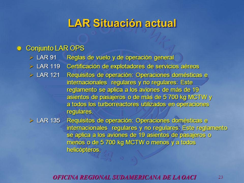 OFICINA REGIONAL SUDAMERICANA DE LA OACI 23 LAR Situación actual Conjunto LAR OPS LAR 91 Reglas de vuelo y de operación general LAR 91 Reglas de vuelo y de operación general LAR 119Certificación de explotadores de servicios aéreos LAR 119Certificación de explotadores de servicios aéreos LAR 121Requisitos de operación: Operaciones domésticas e internacionales regulares y no regulares: Este reglamento se aplica a los aviones de más de 19 asientos de pasajeros o de más de 5 700 kg MCTW y a todos los turborreactores utilizados en operaciones regulares.