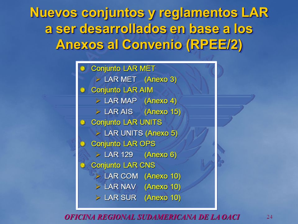 OFICINA REGIONAL SUDAMERICANA DE LA OACI 24 Nuevos conjuntos y reglamentos LAR a ser desarrollados en base a los Anexos al Convenio (RPEE/2) Conjunto LAR MET LAR MET (Anexo 3) LAR MET (Anexo 3) Conjunto LAR AIM LAR MAP(Anexo 4) LAR MAP(Anexo 4) LAR AIS (Anexo 15) LAR AIS (Anexo 15) Conjunto LAR UNITS LAR UNITS (Anexo 5) LAR UNITS (Anexo 5) Conjunto LAR OPS LAR 129 (Anexo 6) LAR 129 (Anexo 6) Conjunto LAR CNS LAR COM (Anexo 10) LAR COM (Anexo 10) LAR NAV (Anexo 10) LAR NAV (Anexo 10) LAR SUR (Anexo 10) LAR SUR (Anexo 10)